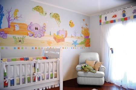 decoração de quarto de bebe com papel de parede
